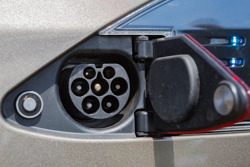 Tesla S P85 D charging socket Guernsey Electric Vehicle Open Day  250616 ©RLLord 3825 smg
