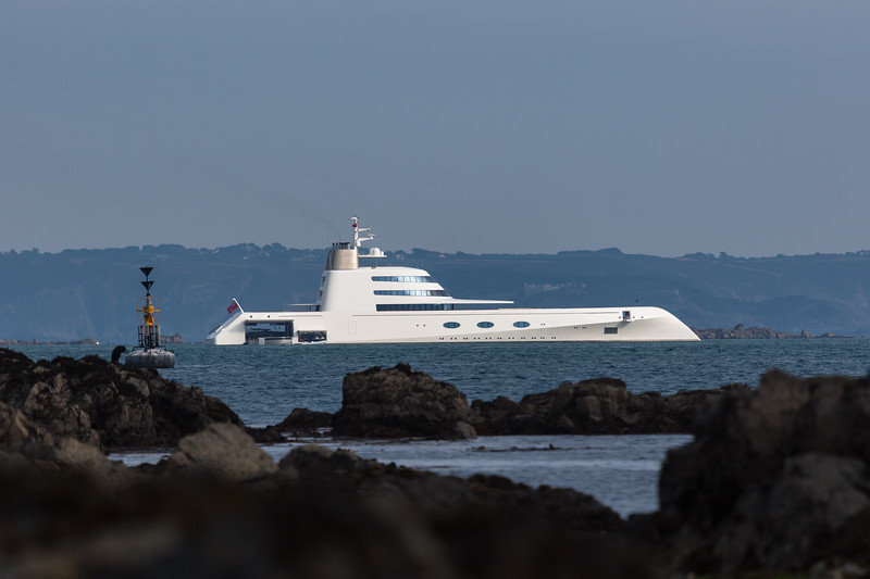 Motor Yacht A moored in the Little Roussel between Guernsey and Herm Island in the Channel Islands