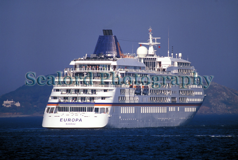 The passenger ship Europa heading out of the Little Roussel