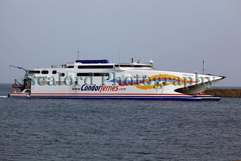 Condor Vitesse ferry entering St Peter Port harbour, Guernsey