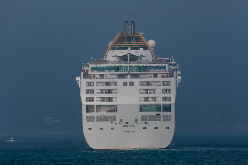 P&O Cruises MV Oceana passenger ship with its stern facing St Peter Port, Guernsey