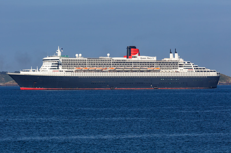 Cunard's Queen Mary 2 cruise ship moored in the Little Roussel off St Peter Port, Guernsey