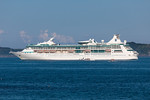 Vision of the Seas moored in the Little Roussel off Guernsey's east coast