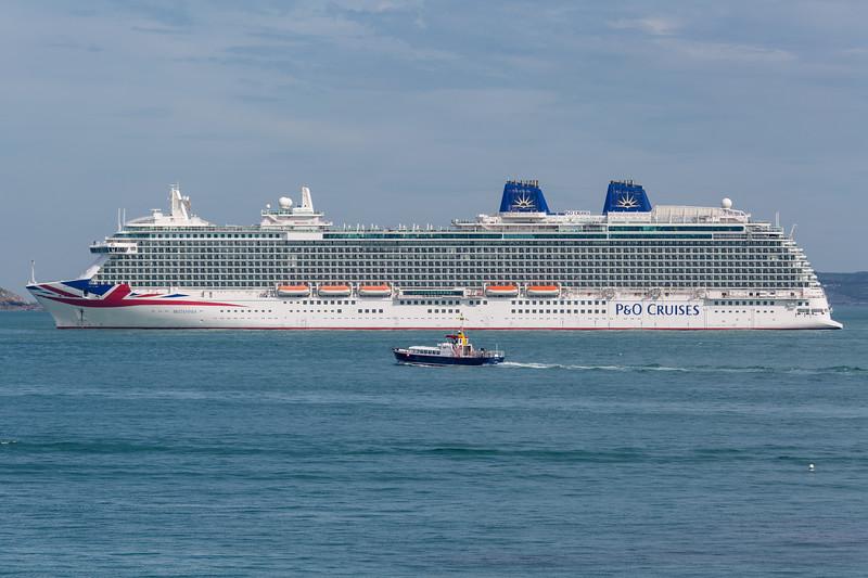 MV Britannia anchored in the Little Roussel off St Peter Port, Guernsey