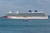 MV Britannia anchored in the Little Roussel off St Peter Port, Guernsey
