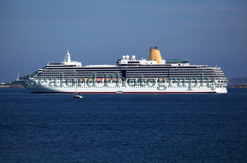 Arcadia cruise ship anchored in the Little Roussel off St Peter Port, Guernsey