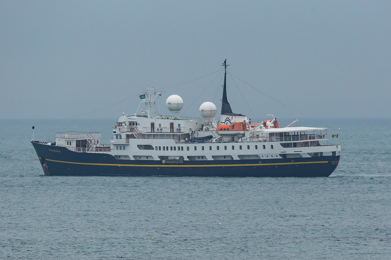 MS Serenissima at anchor in the Little Roussel off Guernsey's east coast