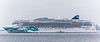 Norwegian Jade cruise ship at anchor in the Little Roussel to the east of Guernsey