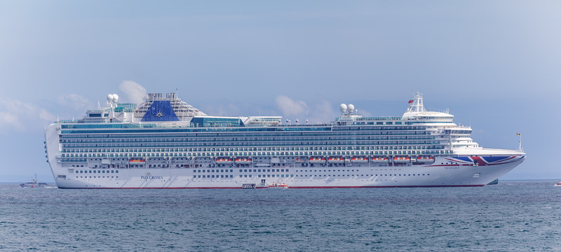 P & O Cruises Ventura moored in the Little Roussel off St Peter Port, Guernsey