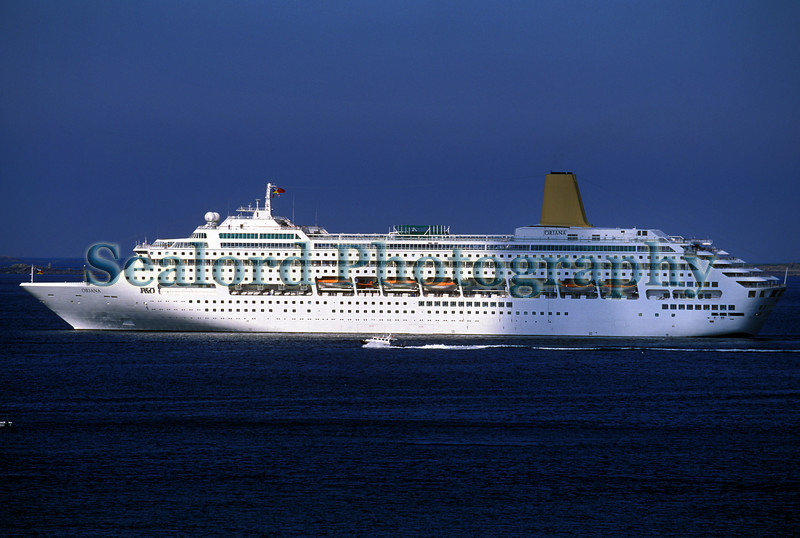 Oriana passenger ship moored in the Little Russel off St Peter Port, Guernsey