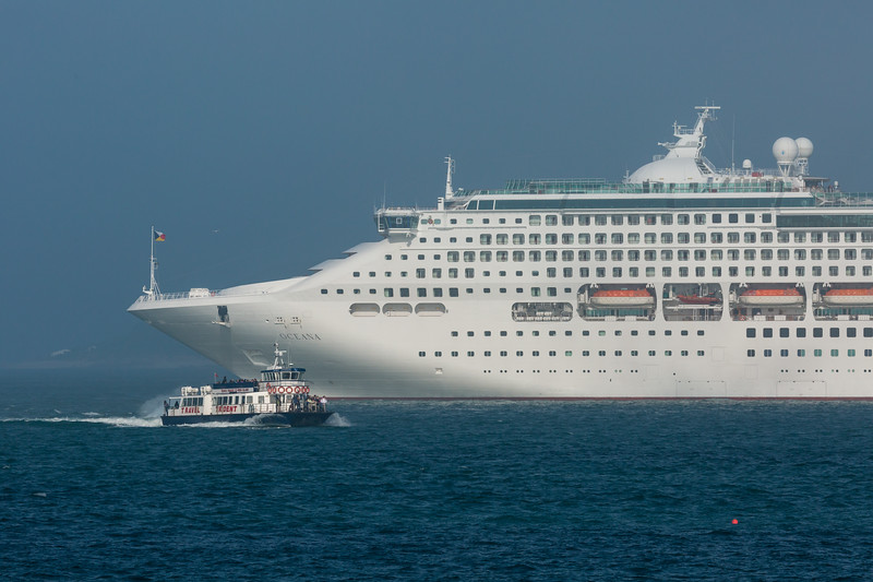 Oceana cruise ship anchored in the Little Roussel off Guernsey's east coast