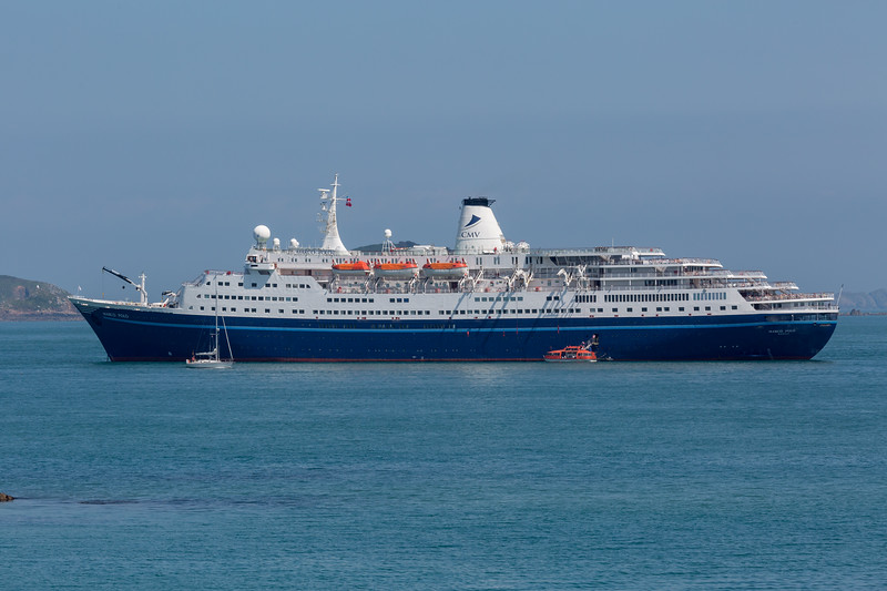 MS Marco Polo passenger ship anchored in the Little Roussel off Guernsey's east coast