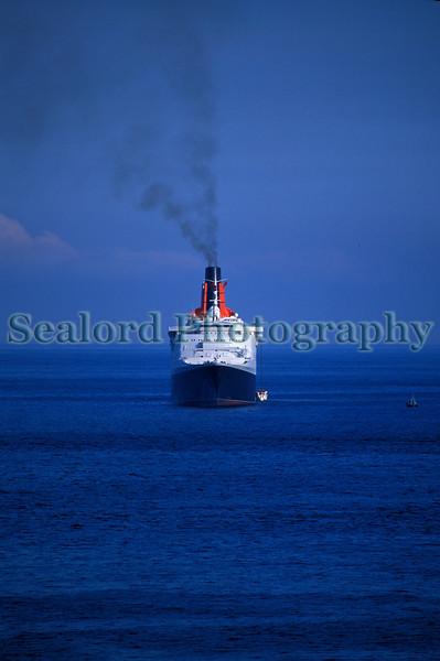 Cunard's QE II passenger ship off St Martin's Point, Guernsey