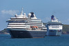 Cruise ships Prinsendam and Aurora anchored in the Little Roussel off Guernsey's east coast