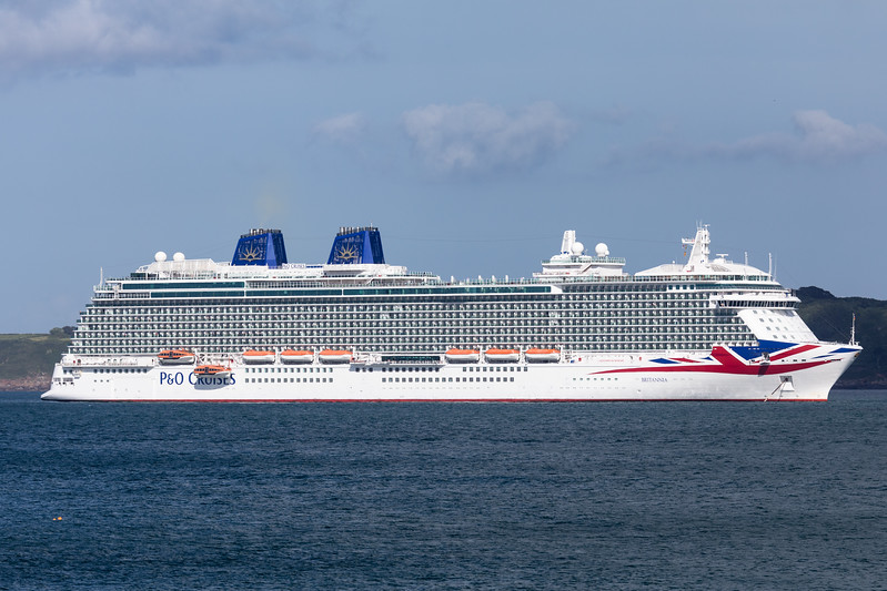 P & O Cruises' MV Britannia anchored in the Little Roussel