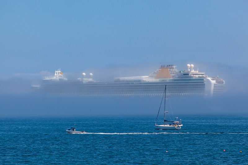 Azura cruise ship in sea fog Little Russel 060713 ©RLLord 6999 smg