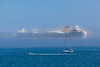 Azura passenger ship shrouded in sea fog in the Little Roussel off St Peter Port, Guernsey