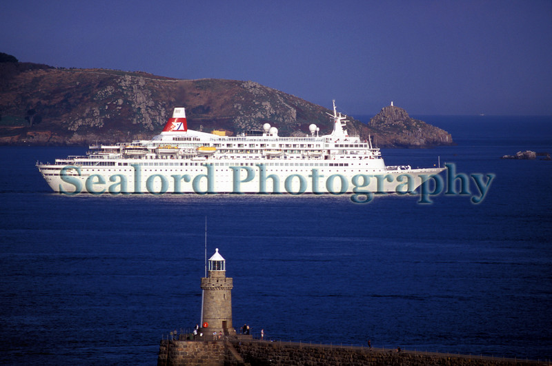 Boudicca cruise ship in the Little Roussel off the Guernsey east coast