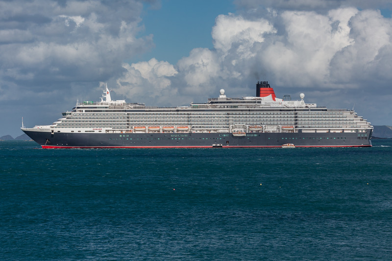 MS Queen Victoria moored in the Little Roussel off Guernsey's east coast