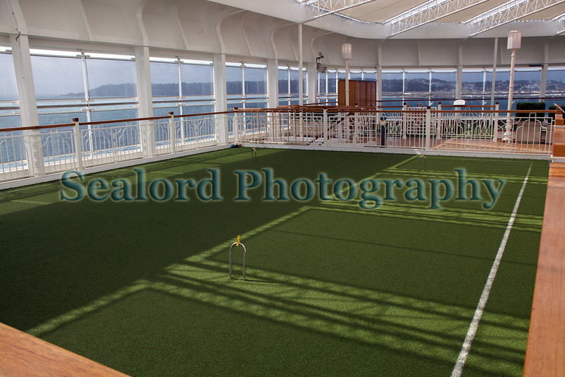 Queen Elizabeth cruise ship croquet pitch