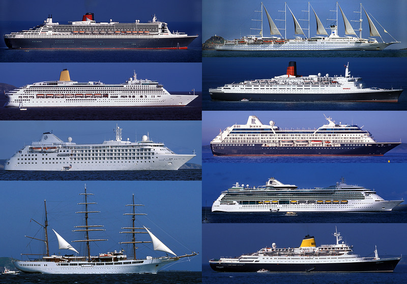 A collage of passenger ships visiting St Peter Port, Guernsey