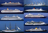 An A5 sized collage of some of the cruise ships that visit St. Peter Port, Guernsey.  They include the Queen Mary, Club Med II, Aurora, QE II, Silver Cloud, R-Two, Seacloud II, Jewel of the Seas and the Saga Rose.