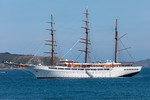 Sea Cloud II moored in the Little Roussel off Guernsey's east coast