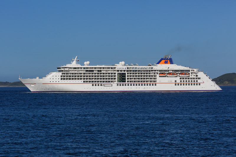 Europa 2 passenger ship moored in the Little Roussel off Guernsey's east coast