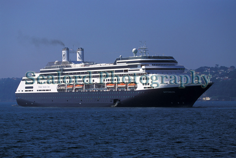 The cruise ship Rotterdam of the Holland America Line at anchor off St Peter Port, Guernsey in the Little Russell on 28 August 2002.<br /> <br /> File No. 280802 11-594<br /> ©RLLord<br /> sealord@me.com