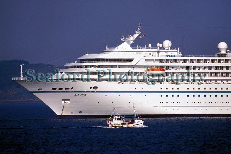 Amadea moored in the Little Roussel off St Peter Port, Guernsey