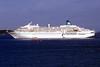 Amadea passenger ship moored in the Little Roussel off St Peter Port, Guernsey