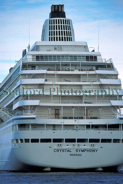 Crystal Symphony moored in the Little Roussel off St Peter Port, Guernsey