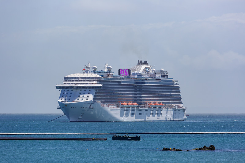Royal Princess cruise ship anchored in the Little Roussel off Guernsey's east coast