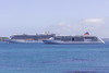 The Royal Princess and Europa 2 anchored in the Little Russel off Guernsey's east coast