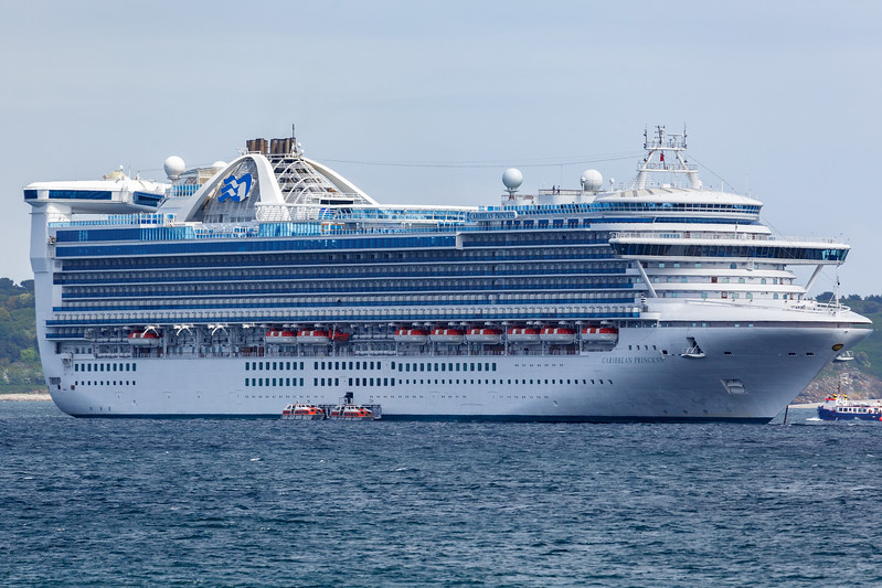 Caribbean Princess cruise ship anchored in the Little Roussel off Guernsey's east coast