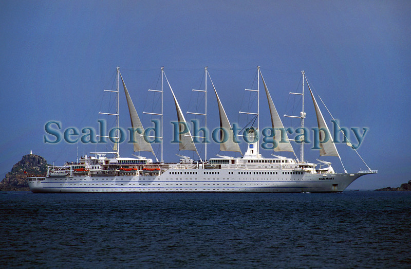 Club Med 2 heading south out of the Little Russell in July 2001.  I was standing on the Guernsey shore at La Valette just south of St. Peter Port harbour when I saw this beautiful ship sailing by.<br /> <br /> File No. 07 2001 28-490<br /> ©RLLord<br /> sealord@me.com