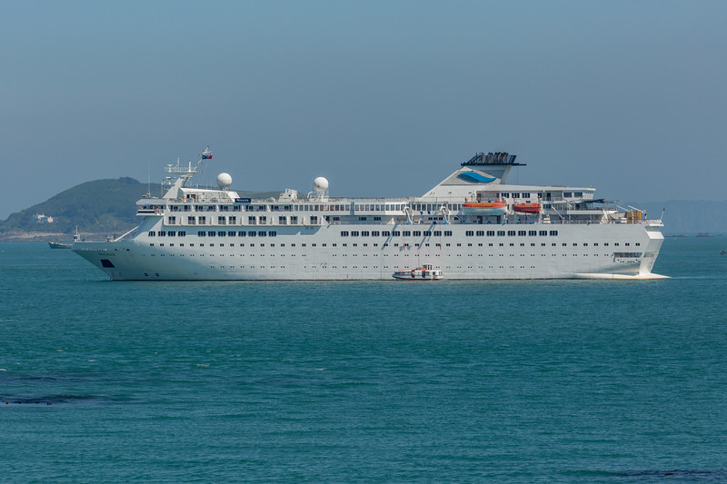 Voyager passenger ship anchored in the Little Roussel off Guernsey's east coast