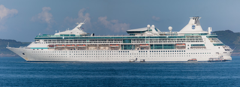 Vision of the Seas anchored in the Little Roussel off Guernsey's east coast