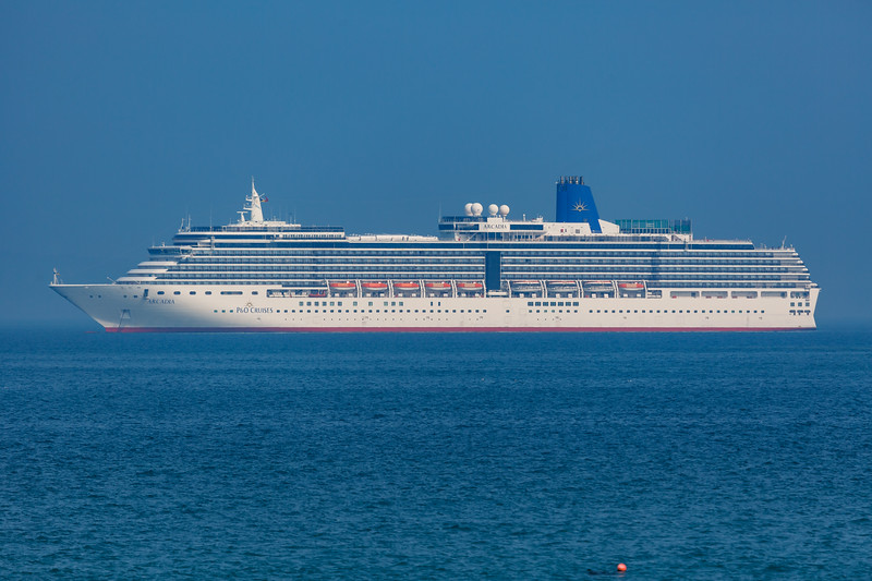 Arcadia cruise ship anchored in the Little Roussel off Guernsey's east coast