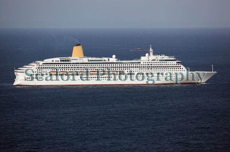 P & O Cruises Aurora passenger ship heading south from Guernsey