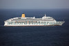 P & O Cruises Aurora passenger ship heading south from Guernsey
