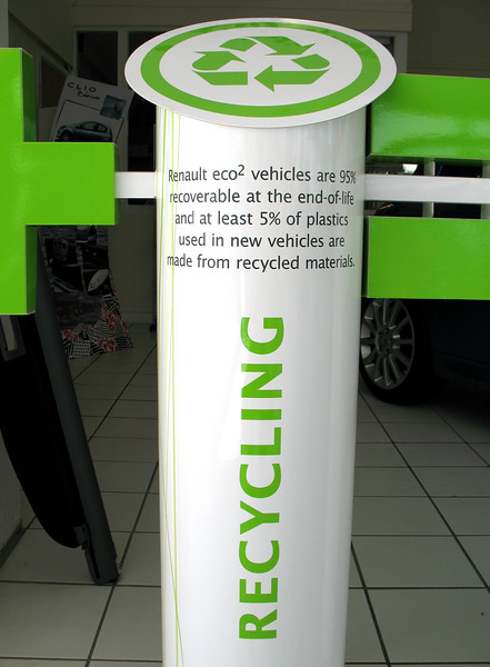 A sign in a Renault showroom in Guernsey, Channel Islands.  <br /> File name: Renault recycling car parts 100907 775<br /> fishinfo@guernsey.net