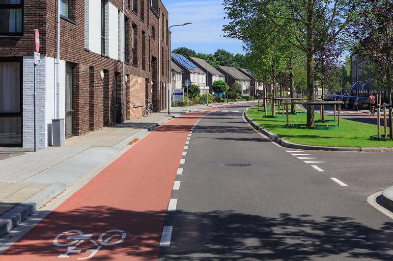 Cycle lane on Brugstraat in Gennep, The Netherlands
