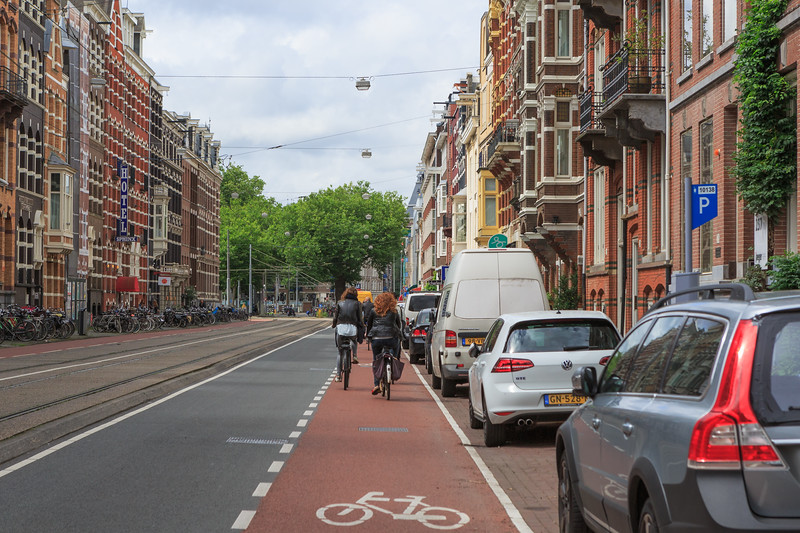 Bicycle lane along Weteringschans in Amsterdam, The Netherlands