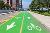 Superb bicycle lanes on the Hoboken, New Jersey waterfront