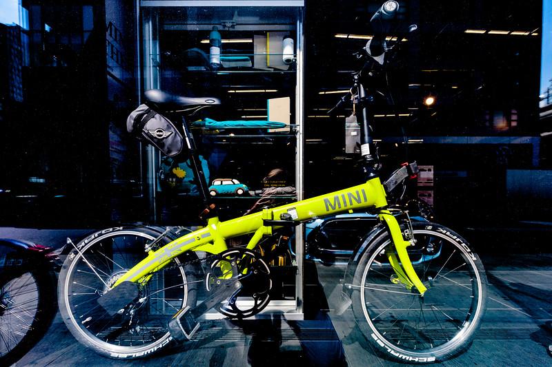 Folding Mini bike in Manhattan shop window