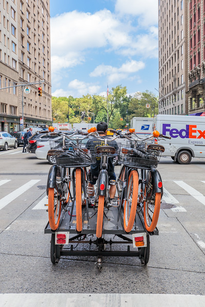 Bicycle distribution by cargo bike on Avenue of the Americas