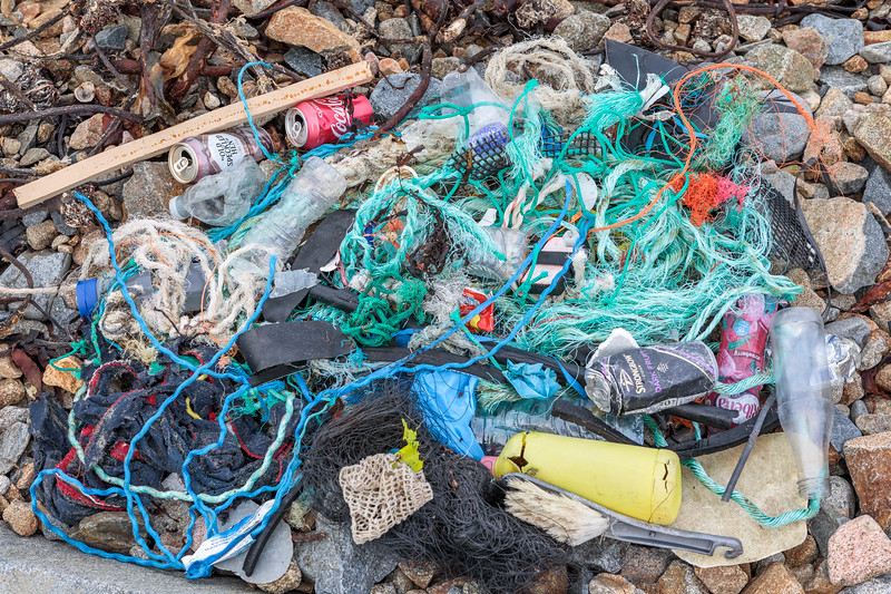 Sea shore litter collected from short section of the sea shore at Portinfer on Guernsey north-west coast on 18 November 2017