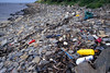 Sea shore litter at Champ Rouget, Chouet, Guernsey before collection on 8 June 2007
