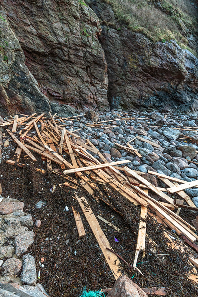 Planks of wood from the cargo ship MV Koningsborg washed up at Petit Port on 10th January 2016
